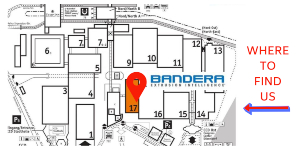 Map of where to find Bandera booth at K2019